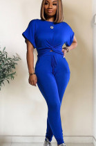 Blue roll up shoulder front twist hem matching set TRS1003