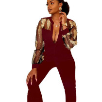 Wine Red Elegant Mesh See Through Feather Embroidery Women Jumpsuit LA3161