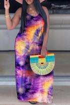 Purple Orange Yellow Casual Polyester Tie Dye Sleeveless Round Neck Mid Waist Tank Dress TZ1099
