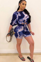 Blue Marble Puff Short Sleeve Asymmertrical Shoulder Front Twinst Knotted Short Sets CM737