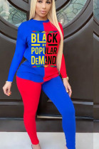 Red Blue Casual Polyester Letter Long Sleeve Round Neck Spliced Tee Top Long Pants Sets TY1855
