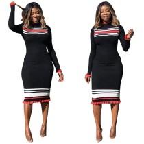 Casual Wear Striped Pencil Midi Dress R6132