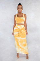 Yellow Marble Tank Top & Front Tied Shift Dress Set FMM1079