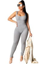 Gray Square Neck Strapped Bodycon Jumpsuit TRS1007