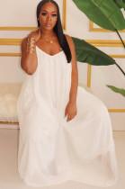 White Solid Color Spaghettti Strap Puff Cami Dress W8263