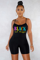 Black Casual Sexy Polyester Letter Sleeveless Scoop Neck Spaghetti Strap Open Back Cami Jumpsuit SN3765