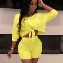 Yellow Solid Wrap Crop Tops Elastic Shorts Outfits QQ5102