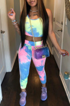 Casual Polyester Tie Dye Sleeveless Round Neck Tank Top Long Pants Sets YM8015