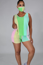 Green Blue Purple Casual Sporty Polyester Striped Sleeveless Round Neck Knotted Strap Tank Top Shorts Sets LA3204