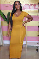 Yellow Casual Polyester Short Sleeve Round Neck Split Hem Waist Tie Long Dress KZ789