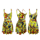 Butterfly Random Print Front Knot Cut Out Cami Dress HHM6115