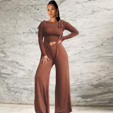 Hot Solid Suits Long Sleeves Bodycon Top Strappy Loose Pants DN8288