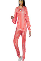 Peach Round Neck Stripes Print Blouse with Drop Sleeve & Frill Side Pants Set NK085