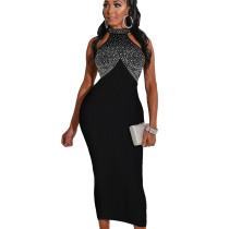Black Bodycon Party Sleeveless Hot Drilling Halter Neck Long Dress WMZ2518