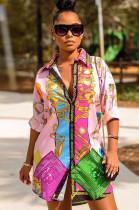 Contast Color Chain Print Shift Shirt Dress YZ2136