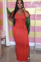 Red Casual Polyester Short Sleeve Round Neck Split Hem Waist Tie Long Dress KZ789