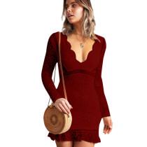 Wine Red Slim Bodycon Sexy Embroidery V Collar Lace Mini Dress QZ8013