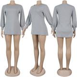 Black Factory Price Comfy Long Sleeved Pure Color Leisure Dress KA7068