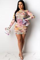 Butterfly Random Print Pleated Cuff Transparent Mini Dress ED8183