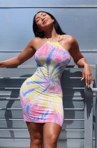 Multicolor Radiused Graphic Slip Dress DMM8067