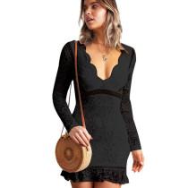 Black Slim Bodycon Sexy Embroidery V Collar Lace Mini Dress QZ8013