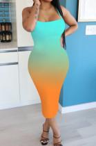 Orange Casual Polyester Sleeveless Spaghetti Strap Open Back Mid Waist Slip Dress NK143