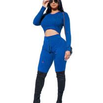 Blue Round Neck Shear Texture Fleece Midriff Blouse & Skinny Pants Set LY5806