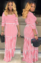 Red Casual Polyester Striped Half Sleeve Round Neck Ruffle Long Dress KZ025