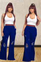 Blue Casual Polyester Ripped Flare Leg Pants TZ1092