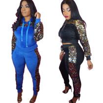 Fashion Hoodie Tops Sequins Pants Club Outfits QZ3245
