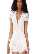 White embroidery chiffon short sleeve jumpsuit SMR9542
