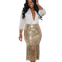 Fashion Bodycon Fringe Bottom Glitter Sequin Skirt For Women LD8656