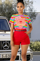 Rainbow Stripes & Lion Graphic rint Self-belted Short Sets PT97021