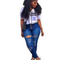 All Match Women Slit Ripped Hole Skinny Jeans For Wholesale SY8405
