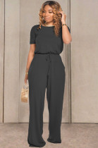 Black Casual Cotton Short Sleeve Round Neck Drawstring Waist Tee Jumpsuit TRS1033