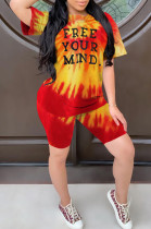 Yellow Casual Polyester Letter Short Sleeve Round Neck Tee Top Shorts Sets W8285