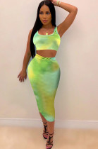 Green Crop Tank Top & Ankle Length Skirt Sets OMM1109