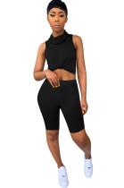 Black Off Shoulder Crop Shirt & Skinny Shorts Sets with Face MaskQQM4018
