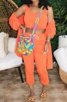 Orange Casual Cotton Long Sleeve Utility Blouse Long Pants Sets K2002