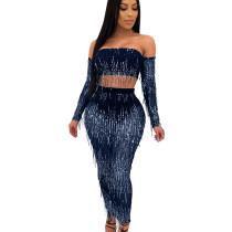 Dark Blue Mature Women See Through Sequined Tassel Sexy Skirt Suits QZ4089