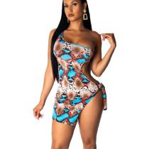 Blue Sexy One Shoulder Snake Print Mini Dress ML7197
