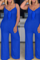 Blue Sexy Polyester Sleeveless Self Belted Cami Jumpsuit MA6573