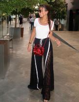 Women Split Lace Patchwork Wide Leg Pants ZS0157