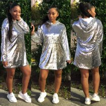 Bling Bling Sequins Hoodie T Shirt Dress ED8054