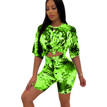 Green Summer T Shirts Midi Shorts Two Pieces Sets HHM6139