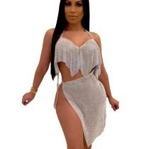 Silver Sequined Split Backless Blouse & Skirt Set CY1209