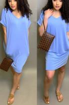Light Blue Casual Spandex Short Sleeve V Neck Mid Waist Long Dress AA5060