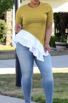 Yellow Casual Cotton Round Neck Spliced Guipure Lace Tee Top OLY6007