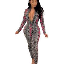Rose Red Snake Print Mature Women Slim Fitting Zip Up Jumpsuit CM647
