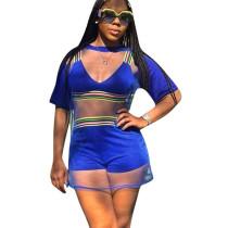 Blue Bra Tops Mini Shorts Mesh Cover Ups 3 Pieces Sets F8101